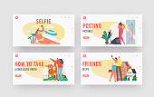 Young People Taking Selfie Landing Page Template Set. Happy Characters Shoot Photo during Summer Vacation on Beach