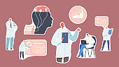 Set of Stickers Doctor Neurologist, Neuroscientist, Physician, Brain Connected to Display with Eeg Indication. Neurology