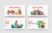 Farmers Doing Farming Job Landing Page Template Set. People Feed Cow and Fowl, Care of Domestic Animals at Livestock