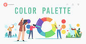 Characters Working with Color Palette Wheel Landing Page Template. Professional Designers Choose Colours and Tints