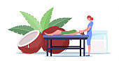 Young Female Character Lying on Table Receiving Relaxation Back Massage with Coconut Oil in Spa Center. Body Treatment