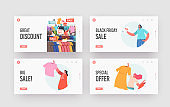 Sale, Discount Landing Page Template Set. Girls Buyers Grab Apparel from Store Hangers Buying Low Price Purchases