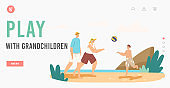 Happy Characters Summer Recreation at Ocean Shore Landing Page Template. Family Vacation. Grandparents and Grandson
