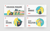 Ocean Oil Pollution Ecological Problem Landing Page Template Set. Characters in Protective Suits and Masks Clean Beach