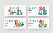 Newborn Landing Page Template Set. Young Family with Baby. Mother and Father Characters Care of Children, Parenting
