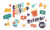 Set of Icons Refer Friend Theme. Paper Airplane, Envelope, Thumb Up, and Wrapped Gift Box with Smartphone, Loudspeaker
