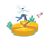 Businessman Character Flying on Quadcopter Take Away Part of Coin in Shape of Pie Chart. Shareholder Snatch Dividends