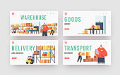 Warehouse Landing Page Template Set. Workers Loading, Stacking Goods in Store. Accounting and Packing Cargo on Belt