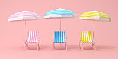 Minimal scene of beach chairs and umbrella on pink background, Various color, Summer concept, 3D rendering.