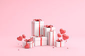 Mock up of gift boxes with balloons in heart shape. 3d rendering.