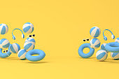 Minimal scene of inflatable ring with rubber ball on yellow background, Summer concept, 3D rendering.