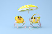 Conceptual scene of yellow alarm clock with headphone on inflatable ball and beach chair, 3d rendering.