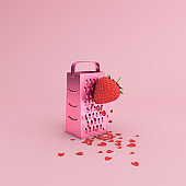 Minimal scene of heart flake scattered by strawberry manual grater, Valentine concept, 3D rendering.