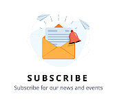 Vector banner of email marketing. Subscription to newsletter, news, offers, promotions. A letter in an envelope.