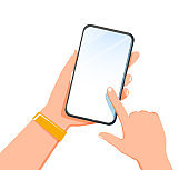 Cropped shot view of woman's hands holding smart phone with blank copy space screen for your text message or information