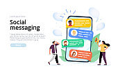 social messaging concept illustration concept for web landing page template, banner, and presentation.
