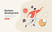 Businessman running on arrow through obstacles to his goal. Business developement, career success or growth.