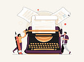 Blog author and creative literature writer and freelancer tiny person concept. Publishing editor and journalist creates.