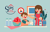Mom Teaching Son to Wash His Hands Before Eat Fruit and Touch Anything In Pandemic Situation, Vector, Illustration, Covid-19, Corona Virus