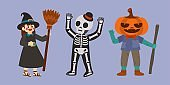 Halloween Character, Witches, Skeleton, Pumpkin Scarecrow, Vector, Illustration