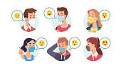 Men, women in masks talking expressing emotions. Happy, surprised, confused persons laughing, showing gestures, scratching head. Facial expressions communication set. Flat vector face illustration