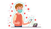 Man in protective mask with covering shield protection from corona viruses. Person making wireless payment with NFC phone on POS terminal. Safety during coronavirus epidemic flat vector illustration