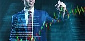 Business man with futuristic stock graph chart symbol background, finance business company investment digital currency blockchain and stock exchange market digital technology concept.