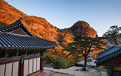 The Courtyard of Buddhist Temple at Mt. Cheongryang Provincial Park (South Korea)
