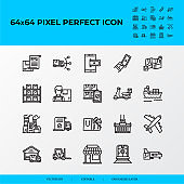 Set of Logistics process Related Vector Line Icons. Delivery order, online payment, inventory, distribution.64x64 pixel perfect icons