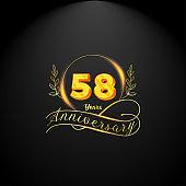 Elegant golden 58 years anniversary logo template. luxury retro vintage style. vector illustration