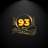 Elegant golden 93 years anniversary logo template. luxury retro vintage style. vector illustration