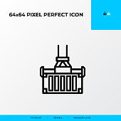 container lifted a crane icon. Logistics process 64x64 pixel perfect icon