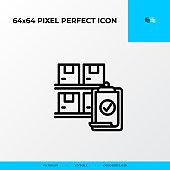 Inventory control icon. Logistics process 64x64 pixel perfect icon