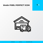Warehouse and delivery truck icon. Logistics process 64x64 pixel perfect icon