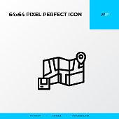 Customer location icon. Logistics process 64x64 pixel perfect icon