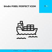 logistics transportation ship icon. Logistics process 64x64 pixel perfect icon