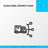distribution network icon. Logistics process 64x64 pixel perfect icon