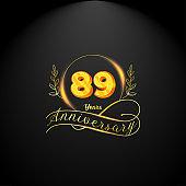 Elegant golden 89 years anniversary logo template. luxury retro vintage style. vector illustration