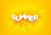 Bright yellow summer background. The inscription Summer surrounded by paper cut tropical palm leaves on a yellow background. Vector illustration