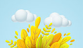 Hello Autumn 3d minimal illustration with autumn yellow, orange leaves and white cloud isolated on blue background. 3d Fall leaves background for the design of Fall banners. Vector illustration