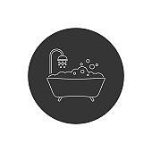 Bath line icon vector. Style sign for mobile concept and web design. Bath symbol illustration
