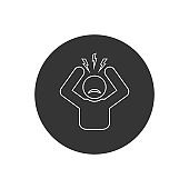 Headache glyph line icon. Silhouette symbol. Anger and irritation. Frustration. Nervous tension. Aggression. Occupational stress. Emotional stress symptom. Negative space. Vector