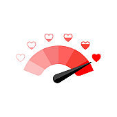 Love meter heart indicator. Vector Illustration.