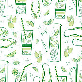 Mint lemonade pitcher, glass, flip flop vector seamless pattern background. Green white backdrop with hand drawn jug, drinks glasses, citrus fruit, minty leaves, sandals. Repeat for summer beach party