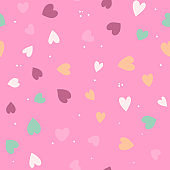Cute Simple Seamless Pattern Love Heart Background. Vector Illustration EPS10