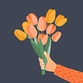 Hand holding Bouquet of spring flowers tulips. Vector Illustration. PS10