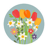 Bouquet of spring flowers tulips and daffodils. Vector Illustration. EPS10