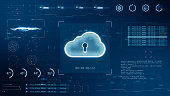 Blue digital 3D cloud computing logo with head up display ( HUD ) background and futuristic technology abstract background