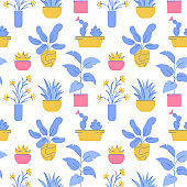 Houseplant seamless pattern. Vector background with potted plants.