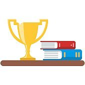 Shelf with trophy golden cup and books room interior vector